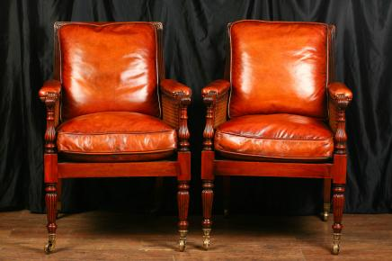 Pair French Bergere Armchairs Chairs Mahogany Regency