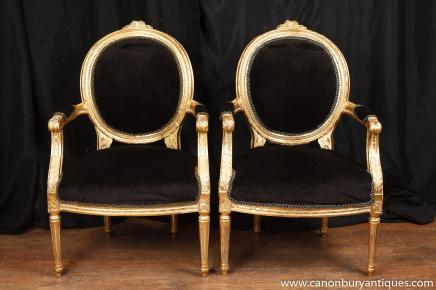 Pair French Empire Gilt Arm Chairs Fauteils