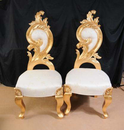 Pair French Grotto Chairs Rococo Throne Funky Seats
