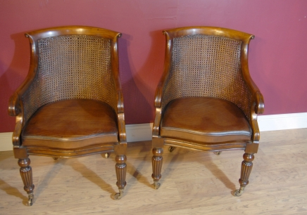 Pair French Regency Bergere Chairs Rattan Arm Chair Walnut