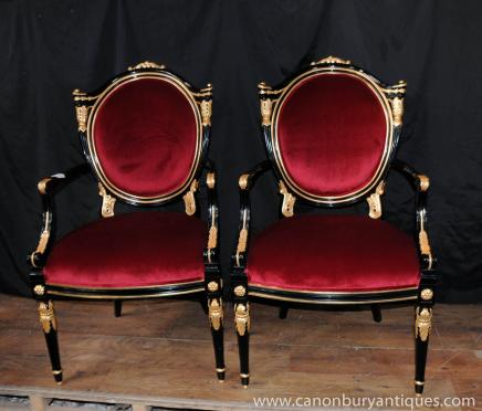 Pair George II Black Lacquer Arm Chairs Armchairs