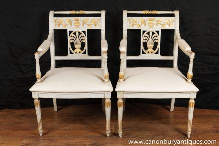 Pair Napoleon I Arm Chairs Fauteils French Neo Classical Painted Chair