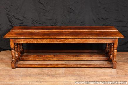 Pair Oak Farmhouse Benches Seats Refectory Bench