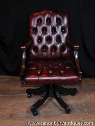 Regency Swivel Desk Chair Leather Arm Chair Deep Button