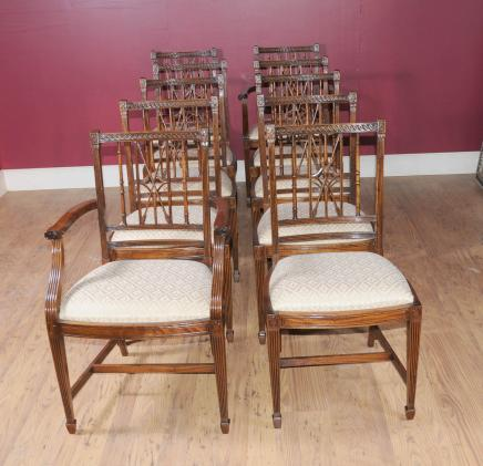 Set 10 Regency Arrowback Dining Chairs