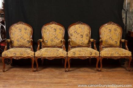 Set 4 Victorian Arm Chairs Woven Fabric Upholstery Arm Chairs Sofa Seat