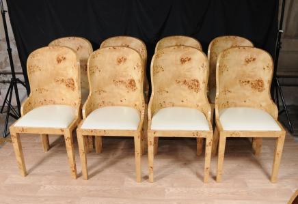 set 8 art deco dining chairs blonde walnut tub chair art deco dining furniture