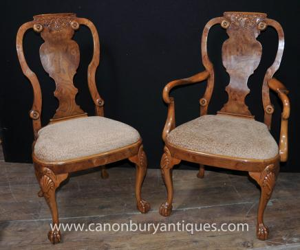 Set 8 Walnut Queen Anne Dining Chairs Armchair Set - Queen Anne Chairs Antique Dining Room