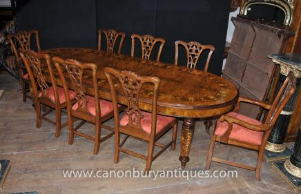 Walnut Victorian Dining Table Chippendale Chair Set Tables Chairs Suite