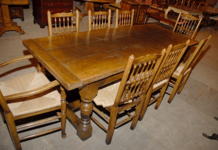 English Abbey Rustic Refectory Table & 8 Spindleback Chair Set
