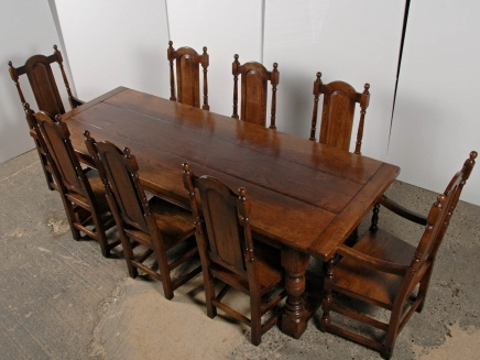 English Gothic Farmhouse Refectory Table & Chair Set