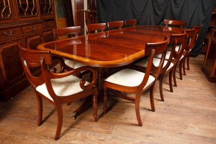Mahogany Regency Dining Set Pedestal Table & Matching Swag Chairs