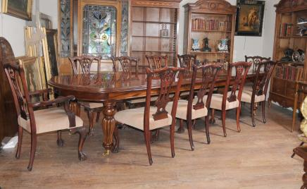 Incroyable Victorian Dining Table Set Chippendale Chairs Set Suite Mahogany