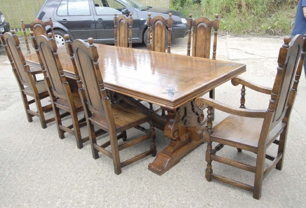 9 ft French Rustic Refectory Table & William Mary Chairs Dining Set