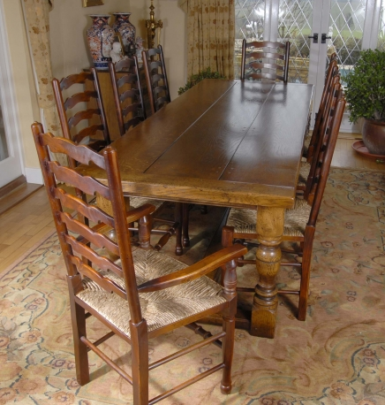 English Farmhouse Refectory Table & 8 Ladderback Chairs