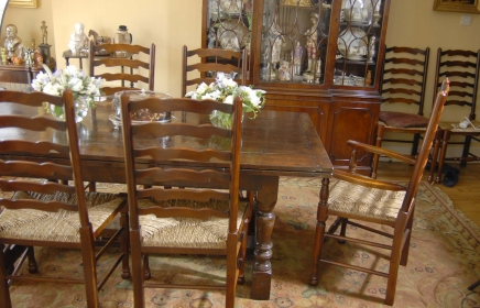 English Oak Refectory Table & Ladderback Chair Dining Set