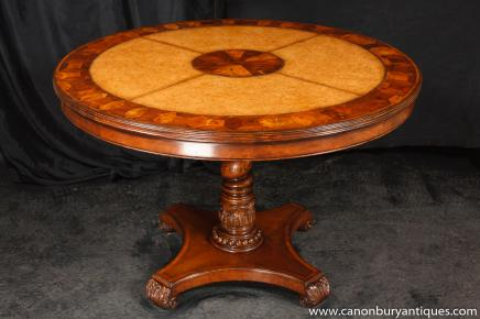 Round Regency Centre Dining Table Oyster and Leather Tables