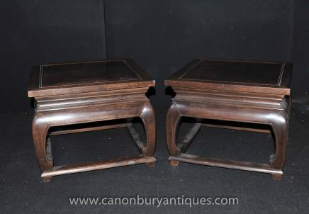 Pair Chinese Antique Stools Side Tables Circa 1900