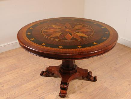 Regency Centre Table Marquetry Inlay Dining Tables