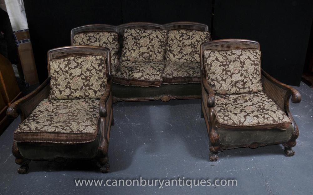 French Antique Bergere Sofa Arm Chair Suite Couch Chairs Settee