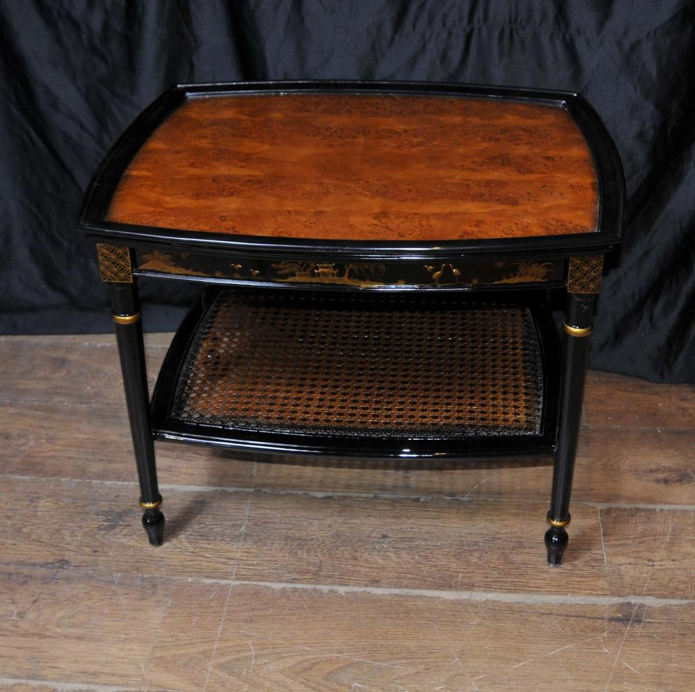 French Black Lacquer Side Coffee Tables Chinoiserie
