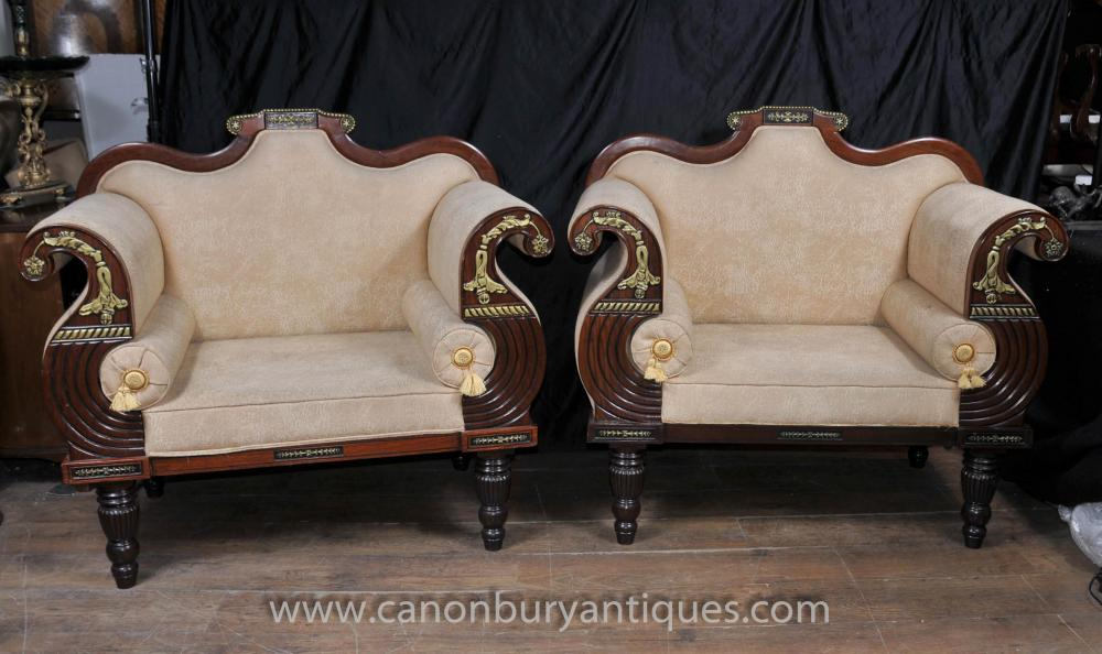 Pair Antique Thomas Hope Settee Seats Mahogany Parcel Gilt Chairs Couch