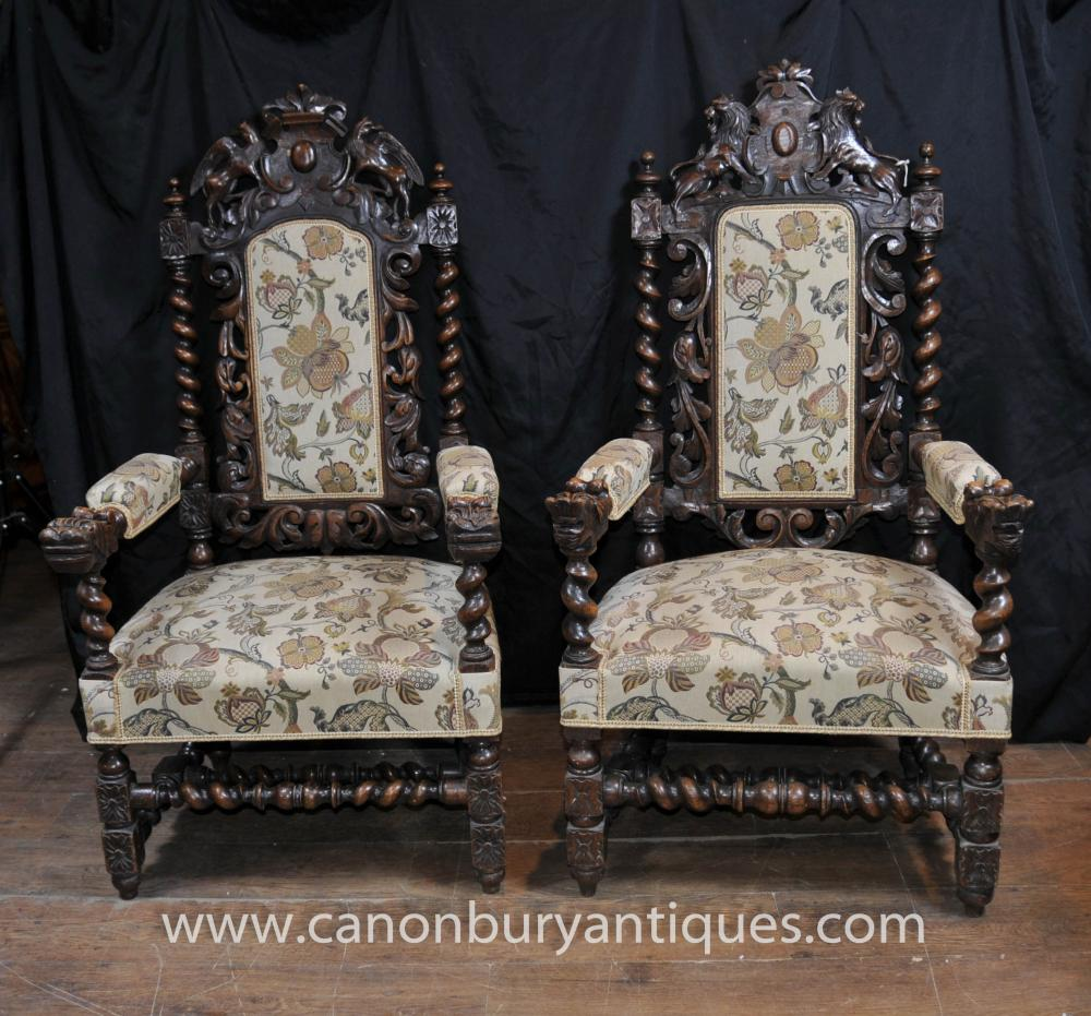 Pair Antique William Mary Oak Arm Chairs Thrones Barley Twist