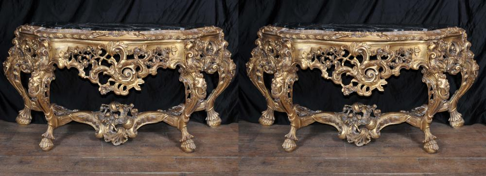Pair French Louis XV Rococo Gilt Console Tables