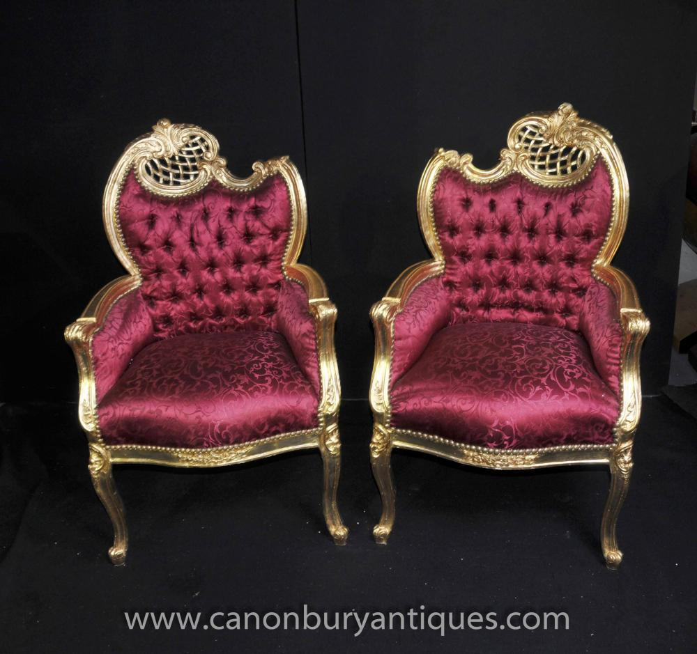 Pair Gilt Louis XV Arm Chairs Fauteils Pink Upholstery Chic