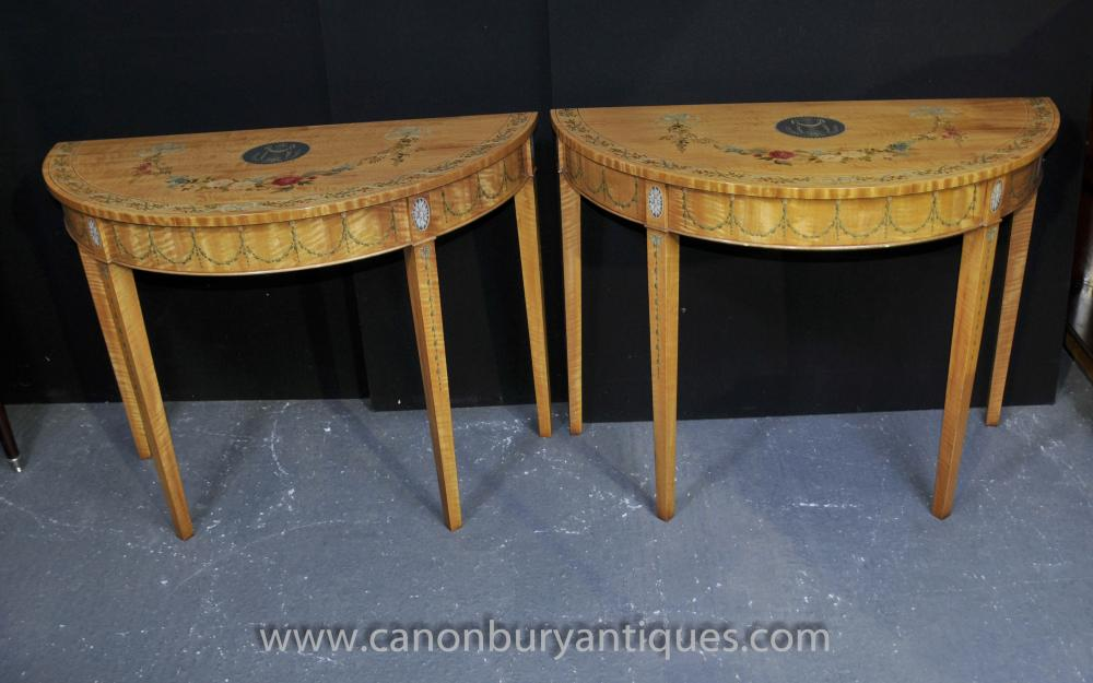 Pair Sheraton Console Tables Painted Satinwood Classical Table