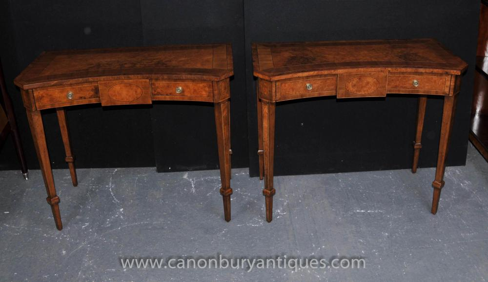 Pair Walnut Regency Console Tables Hall Table Neo Classical