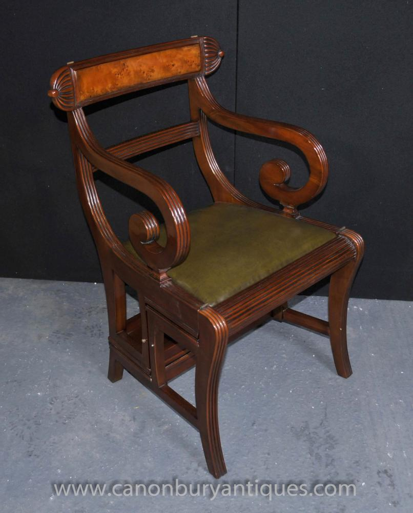 Regency Metamorphic Chair Set Library Steps Armchair Mahogany