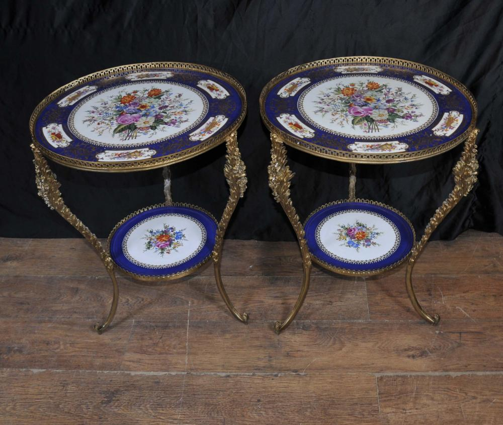 Sevres Porcelain and Ormolu Side Table Floral Ceramic Ormolu