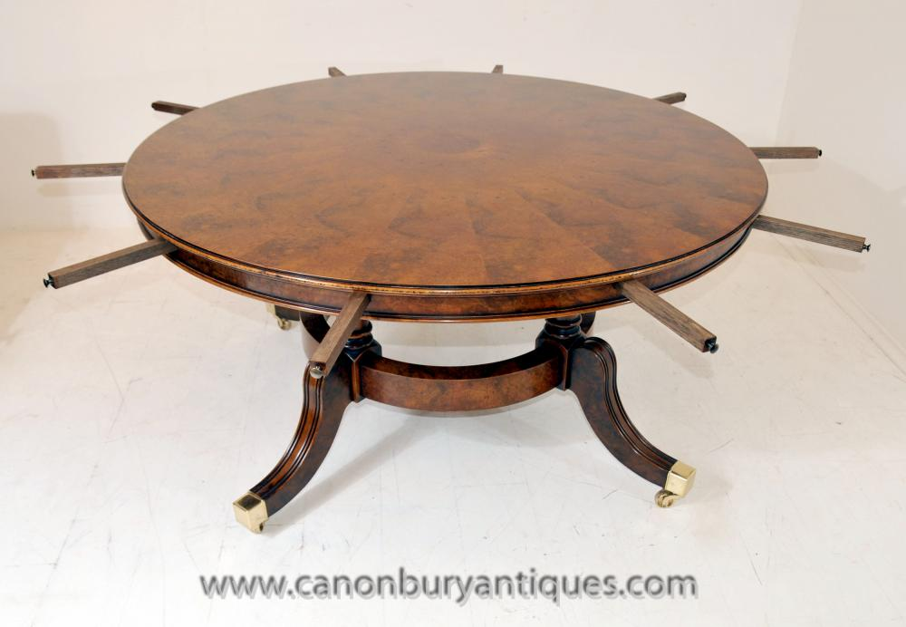 Regency Extending Jupes Dining Table in Walnut Round Tables