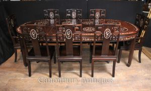 Antique Chinese Hardwood Dining Set Table And 8 Chairs Mother Of Pearl  Inlay 1920