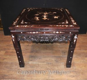 Chinese Antique Hardwood Table and Stool Dining Set Mother of Pearl Inlay