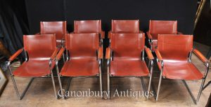 Set 8 Italian Mateo Grassi Leather Dining Chairs Mid Century Modern