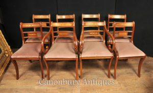Set 8 Walnut Antique Regency Dining Chairs Brass Inlay