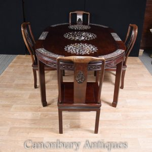 Antique Chinese Dining Set Table and Chairs Mother of Pearl Inlay