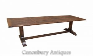 Farmhouse Oak Refectory Table Kitchen Trestle