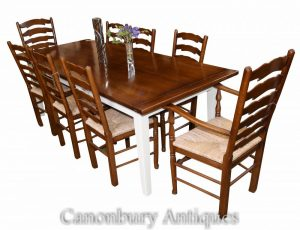 Kitchen Refectory Table and Ladderback Dining Chair Set