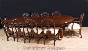 Victorian Dining Table and Set Hepplewhite Chairs Mahogany Set
