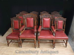 Antique Oak Dining Chairs - Carved Gillows Manner Set 12 1870