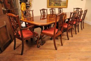 Big Regency Dining Table - Extending Mahogany Pedestal Tables Seats 18