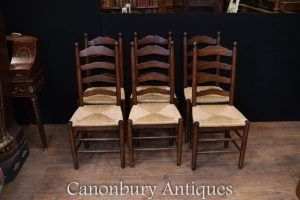 Oak Dining Chairs - 6 Ladderback Kitchen Chairs Farmhouse