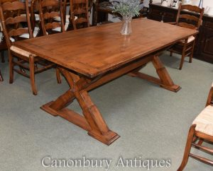 Oak Trestle Table Kitchen Dining Farmhouse Furniture