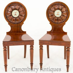 Pair William IV Mahogany Hall Chairs Accent Seat