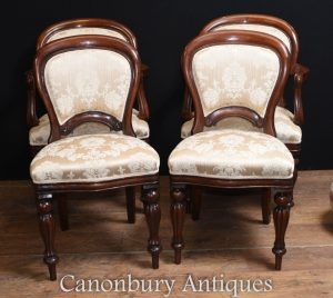 Set 4 Victorian Balloon Back Dining Chairs Upholstered Arm Char