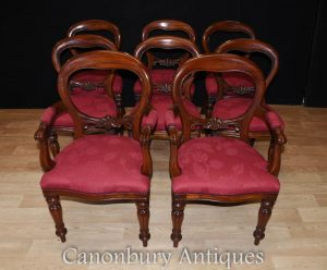 Set 8 Mahogany Victorian Balloon Back Dining Chairs