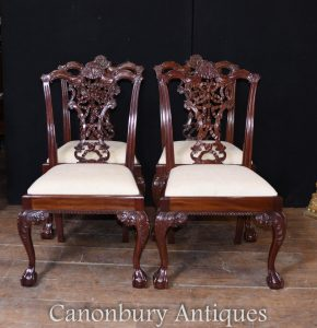 Set Chippendale Dining Chairs in Mahogany - 8 Side Chair